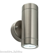 Saxby Palin Twin  LED Outdoor Wall Light  Stainless Steel 3.5W X 2 Cool White