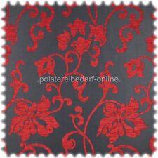 AKTION Flachgewebe Möbelstoff mit floralem Chenille Muster Schwarz / Rot