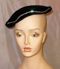 VTG 50'S LOUISE ORIGINAL BLACK VELVET COCKTAIL HAT W/RHINESTONE TRIM