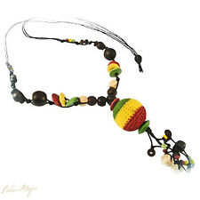 5 Wholesale Lot Jewelry Long Necklace Knitted Ball Hippie New Rasta Reggae Wood