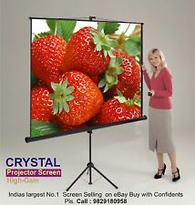 7X5 Sq.Ft. CRYSTAL BRAND HIGH GAIN  IMPORTED TRIPOD  PROJECTOR SCREEN