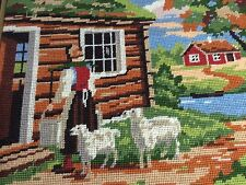 "Vintage Framed Needlepoint Swedish Farm Scene 13"" X 17"" Goats Milking Completed"