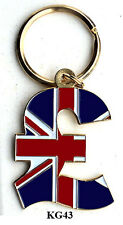BRASS & ENAMEL KEY RINGS - BRITISH POUND