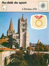 FICHE CARD CIO L'Anneau d'Or Cathédrale de Lausanne Prix Eurovision Sport 70s