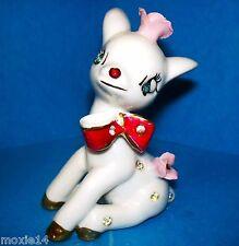 VTG Blue Eyed Deer/Reindeer Rhinestones Figurine Red Bow Christmas Wales Japan