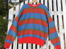 Vintage Jantzen Sweater Wool red blue green Euc Made in Usa sz L large 80s
