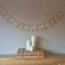 Christmas Jingle Bells Bunting Banner Hessian Burlap
