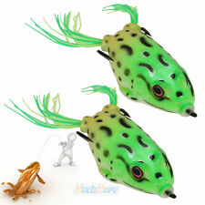2x Topwater Frog Hollow Body Fishing Lure Crankbait Bass Hook Baits 5.5cm