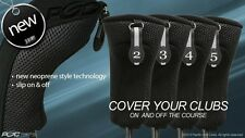 EASY ON & OFF HYBRID HEAD COVERS 2 3 4 5 SET NEW THICK GOLF CLUB BLACK HEADCOVER
