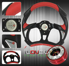 "320MM 3 SPOKE BLACK RED STEERING WHEEL + 1.5"" THIN QUICK RELEASE ADAPTER JDM KIT"