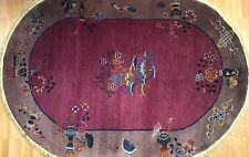 Outstanding Oval - 1920s Antique Art Deco Rug - Chinese Art Nouveau 5.10 x 8.9