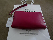 NWT Coach Pebbled Leather Double Zip Wristlet Purse Cranberry F 64130