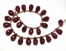 "7"" Strand RUBY 9-10mm Faceted Teardrop Beads"