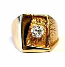 GIA 14k yellow gold .66ct SI1 H round diamond gents ring band mens estate 13.7g