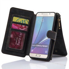 Genuine Leather Flip Wallet Card Slot Case Cover For Samsung  Galaxy Note 5