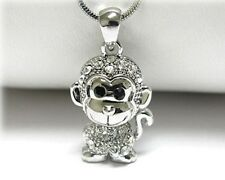 "NEW RHINESTONE CRYSTAL MONKEY PENDANT NECKLACE WHITE GOLD PLATED 18"" CHAIN"
