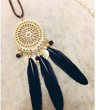 Hot Fashion National Wind Dreamcatcher Fringed Feathers Long Sweater Necklace
