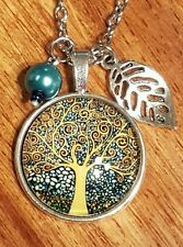��TREE of LIFE PENDANT NECKLACE w LEAF CHARM  BIRTHDAY GIFT �� VINTAGE STYLE ��