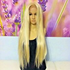 Light blond human hair blend lace front  wig. Platinum blond straight wig. 28''
