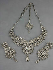 Indian Bollywood Silver Crystal Jewellery set inc Necklace, Earring and Tikka