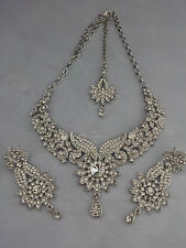Indian Bollywood Plata Cristal Joyas Conjunto Collar, Pendientes Y Tikka Inc