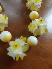 True Vintage Floral Salad Necklace Yellow Daffodil