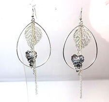 ELEGANT STUNNING SILVER HOOP EARRING LAYERED TASSELED BRAND ENW UNIQUE (A14)