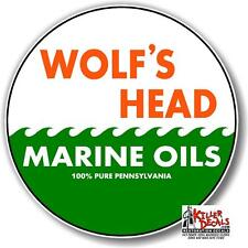 "6"" WOLF'S HEAD MARINE decal lubster gas pump gasoline oil man cave"