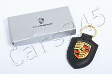 Genuine PORSCHE Black Crest Key Ring Fob Chain Leather WAP0500900E