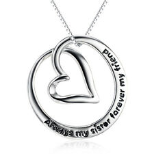 Always my Sister Forever my Friend -Moon Heart Necklace-925 Sterling Silver