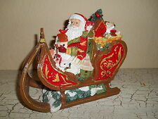 Fitz & Floyd Christmas Santa In Sleigh St Nick Figure Musical Silent Night