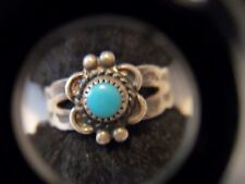 VINTAGE STERLING SILVER BELL TRADING POST RING TURQUOISE ABOUT SIZE 4