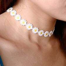 Retro Boho Daisy Flower Choker Chain Hippie Chick Lace Necklace Delicate Yellow