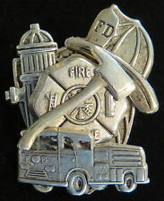 Fire Fighter Pin Oxidized Matte Silver Fire Truck Engine Hat Hydrant Badge Hero