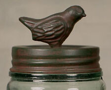 Nice Classic Mason's Patent 1858 Canning Fruit Jar with SONGBIRD Lid Green Rust