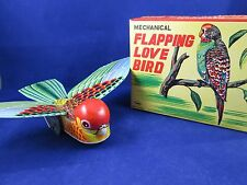 Mechanical Flapping Love Bird Wind Up Tin Litho Toy Japan Mint in Box