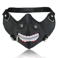 Black Leather Tokyo Ghoul Zipper Punk Half Face Biker Cosplay Motorcycle Mask