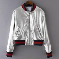 Metallic Pu Leather Short Bomber Jacket Baseball Gold Silver Chic Punk Designer