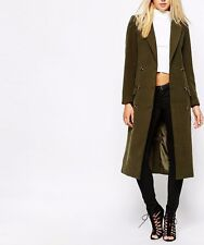 Missguided Khaki Double Breasted Tailored Military Jacket Coat XS 8 36 £70 New