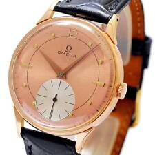 OMEGA 18K SOLID ROSE GOLD 2-TONE DIAL MANUAL WIND WORKING VINTAGE GENTS WATCH