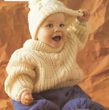 "Knitting Pattern Baby Aran Sweater Trousers Hat 18-26""  251"