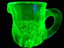Green Vaseline glass child's toothpick holder Pitcher Uranium yellow creamer set