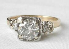 Vintage 14k Gold 1.03 Ct Diamond Illusion Engagement Ring~.83 Center Diam~Sz6.75
