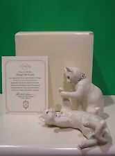 LENOX PLAYING PAT-A-CAKE Two CAT Sculpture set NEW in BOX with COA Kitten