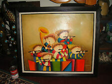Superb Oil Painting On Canvas-Children Playing Flute-Big Head-Signed-Roybal Look