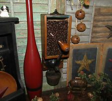 Primitive Antique Vtg Cast Iron Wooden Glass X Ray Coffee Grinder Mill w/ Cup