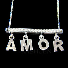 w Swarovski Crystal ~Bar Amor~ French Love France Jewelry Charm Necklace Collier