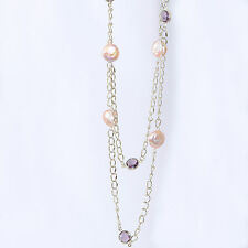 """Pink Coin Pearl and Amethyst Rhinestone Station Necklace 44"""""""