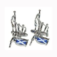 Silver With Blue & White Scottish Flag Bagpipes Cufflinks Scotland Music New