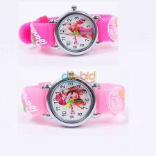 Cartoon Doll 3D Child Kid Analog Quartz Wrist Watch Rubber Leather Girl Scf